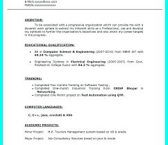 It Fresher Resume Format Download Impressive Free Download Resume Format For Freshers Computer Science Engineers
