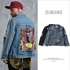 2017 European American Tide High Street Jacket Autumn New Style Water Wash Slit The Stitching Men Denim Coat Jacket Bomber Jacket Leather Overcoat For