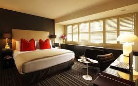 Modern Bedroom Blinds Bedroom Decor Faux Headboard Wooden Nightstand Lamp Shade Drawer