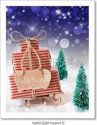Free Art Print Of Vertical Sleigh Blue Background Feliz Natal