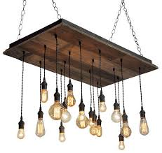 reclaimed wood chandelier brass socket suspended