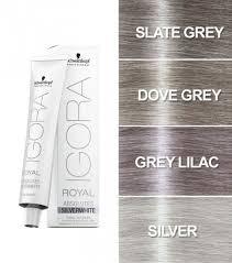 Schwarzkopf Indola Colour Chart Schwarzkopf Igora Royal Absolute Silverwhite Hair Colour 60ml Slate Grey