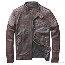 2018 2018 retro vintage brown men genuine leather motorcycle jacket plus size xl slim fit short leather biker coat from humanhair116 402 0 dhgate com
