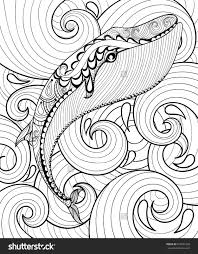 Small Picture Vector Zentangle Whale In Sea For Adult Coloring Page A4 Size