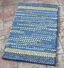blue rag rug handmade twined yellow and white woven cotton mat kitchen bedroom bathroom green blue rag rug