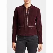 gerry weber zip thru suede jacket short long sleeve