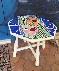 solid wood mosaic stained glass nautical coastal sea life fish accent table