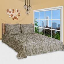souq 6 pc duvet cover set king size cotton 300 tc damask abstract pattern brown color high quality duvet cover bedsheet 4 pillow cases by just