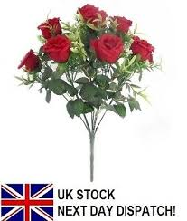 40cm artificial rose red silk flower branch 5 head curling wedding home decoration room