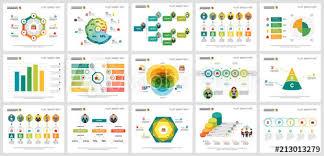 Colorful Smart Art Charts Set For Presentation Slide