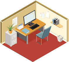 office cubicle clipart. Unique Clipart Modern Office With Desk And Computer Vector Art Illustration In Cubicle Clipart