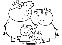 peppa pig and family coloring page for kids printable peppa