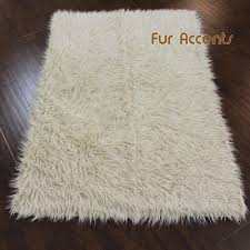 details about fur accents gy mongolian sheepskin faux fur area rug off white rectangle