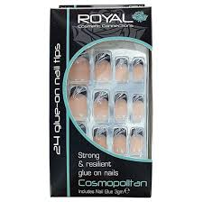 Royal Cosmetic Royal Umělé Nehty Nalepovací černo Tělové Se Vzory 3g Cosmopolitan Stiletto Nail Tips 24 Glue On False Nails Tips 24ks