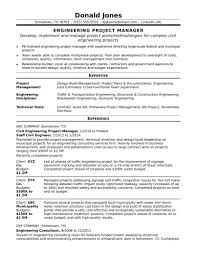 Template Sample Resume For A Midlevel Engineering Project Manager