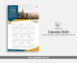 One Sheet Calendar 2020 Aria Creative One Page Calendar Design Template 2020 Psd File