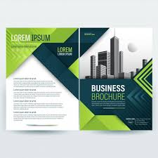 brochure template business brochure template with green geometric shapes vector free