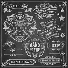 Chalkboard ornaments and ribbons. Vector format. Stock Vector - 37005765