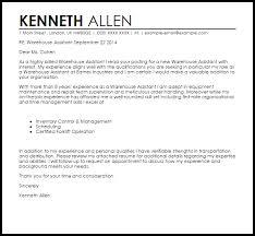 Stockroom Assistant Cover Letter Sample