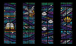 above two photos a faceted glass rose window depicting luther s seal for st peter s church schaumburg illinois exterior view of the window during
