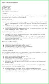 Qa Qc Inspector Resume Sample Also Inspector Quality Control