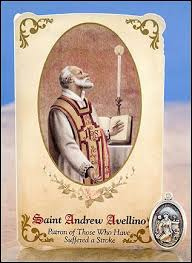 saint andrew avellino healing holy card and saint medal patron on victims of stroke catholic gifts