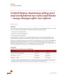 Federal Tax Withholding Chart For 2018 Pwc Summary Of Key 2017 And 2018 Us Federal Tax Rates And Limits