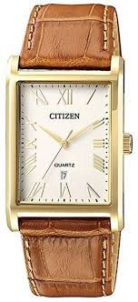 men s citizen dressy gold tone leather strap watch bh3002 03a loading zoom