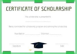 Scholarship Certificate Template Scholarship Award Certificate Template Word Sample Wording