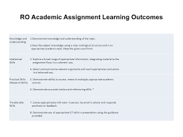 ro academic assignment learning outcomes knowledge and  ro academic assignment learning outcomes knowledge and understanding 1 demonstrate knowledge and understanding of the