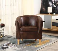 Brown Armchair Foxhunter Vintage Brown Faux Leather Tub Chair Armchair Dining