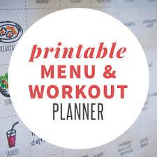 Menu Exercise Planner Free Printable Wholefully