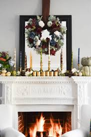 unique candles with mirror and wreath white mantel decor cool mantle 16
