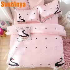 svetanya black swan lace sheet pillowcase duvet cover set princess egyptian cotton bedding set cotton duvet cover queen duvet covers blue from prettyxiu