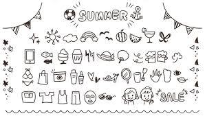 ガーリーな手描きアイコンセット 夏線画透過の画像素材31124781
