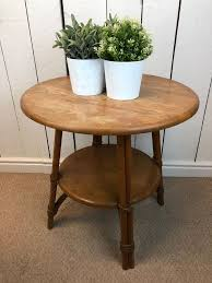 small round solid wood bamboo effect side table circular end lamp table rustic