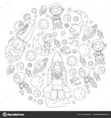 Spazio Per I Bambini Pagina Da Colorare Libro Esplorazione Di