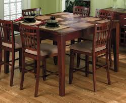 great wooden 7 pieces dining set with square dining table and 6 kitchen counter height cream velvet seat on wood floors dining furniture ideas