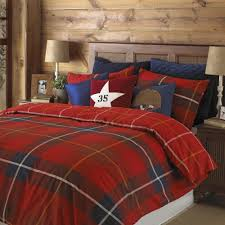 tartan check design duvet cover set red