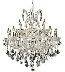 elegant lighting 2800d30c rc maria theresa 19 light 30 inch chrome dining chandelier ceiling light in clear royal cut