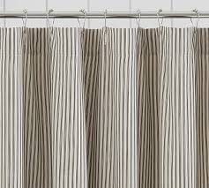 ruffled ticking stripe shower curtain black almond by pottery barn havenly