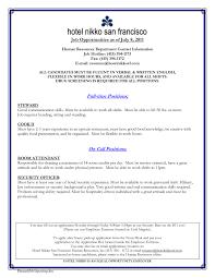 Hotel Job Resume Examples Sidemcicek Com