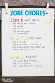 Zone Cleaning Chart For Kids Practical Ideas For Getting Kids To Do Chores A Chore