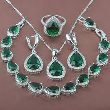 women s green stone zircon 925 sterling silver jewelry sets necklace pendant earrings rings bracelet