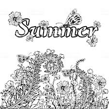 夏の抽象的な風景塗り絵の本ハンド図面スケッチカードカバー お絵かき