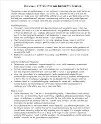 Personal Statement Grad School Samples Sample Personal Statement For Graduate School 8 Examples