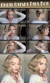 diy 1920s hair faux bob tutorial 1920s makeup tutorial 1920s style hair