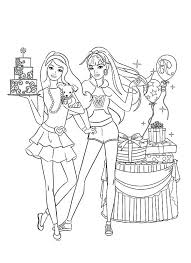 Birthday Party Coloring Page Barbie Doll At Birthday Party Coloring
