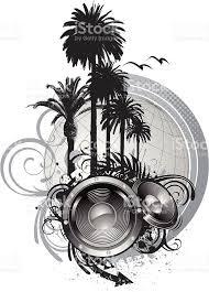 speakers art. palm tree speakers royalty-free stock vector art o