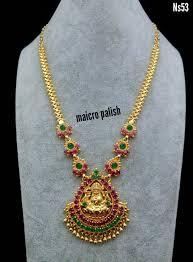 Laxmi Pearls Designs Beautiful Maicro Finish Long Chain With Lakshmi Devi Pendant